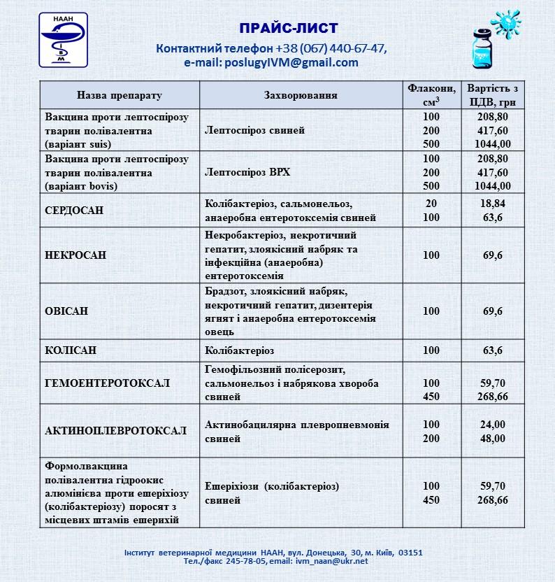 Препарати (прайс-лист)
